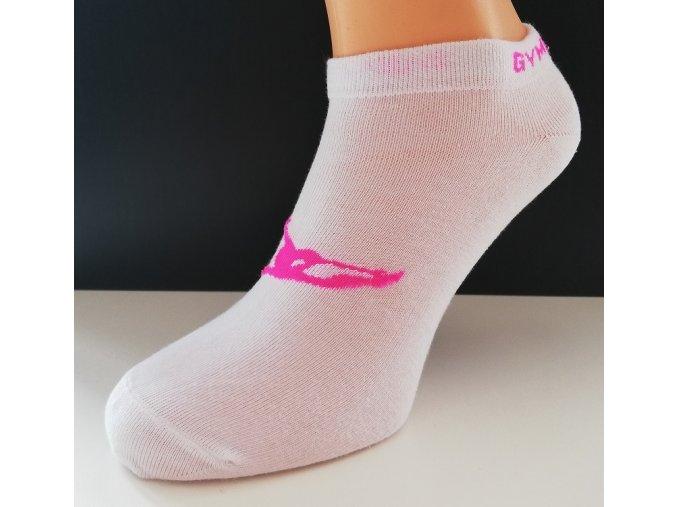Gymnastické ponožky - Bílá / růžová