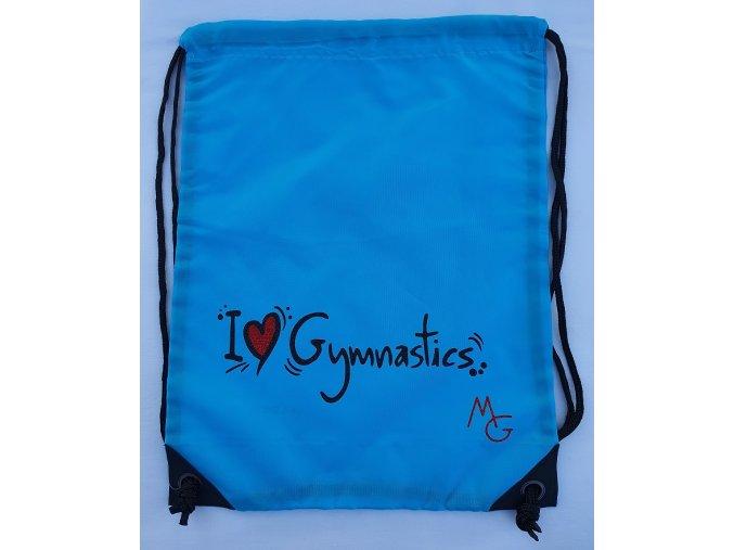 Gymsack I love gymnastics, modrá