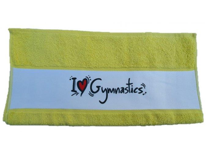 Ručník subli I love gymnastics, žlutá