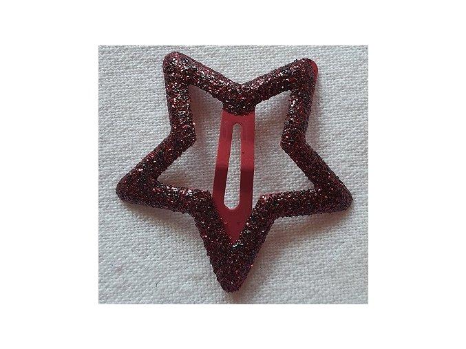 Sponky hvězdičky třpytivé tmavě červená