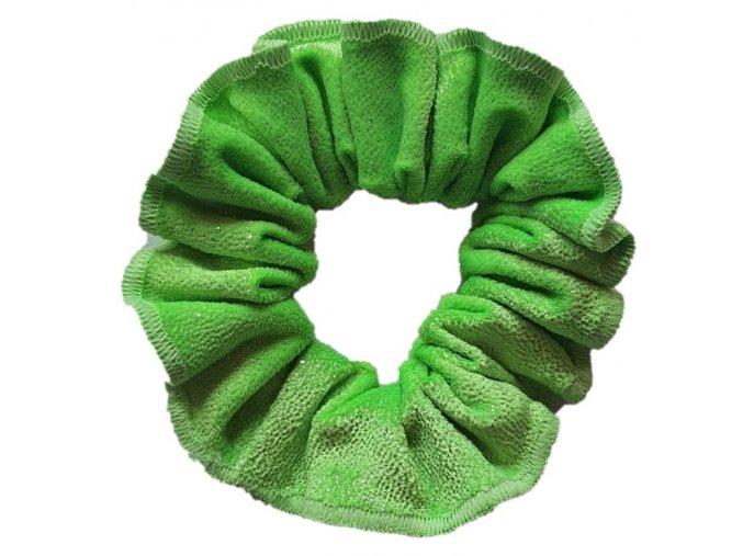 Gumička samet zelená třpytivá