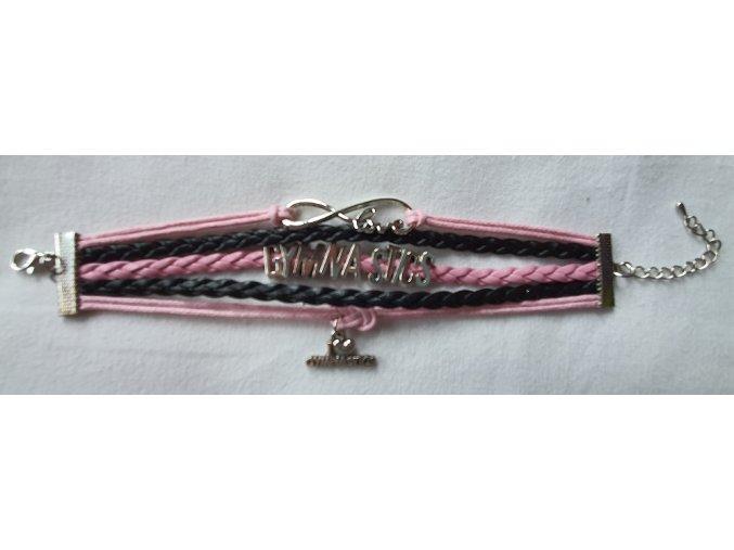 Náramek pletený růžová, černá