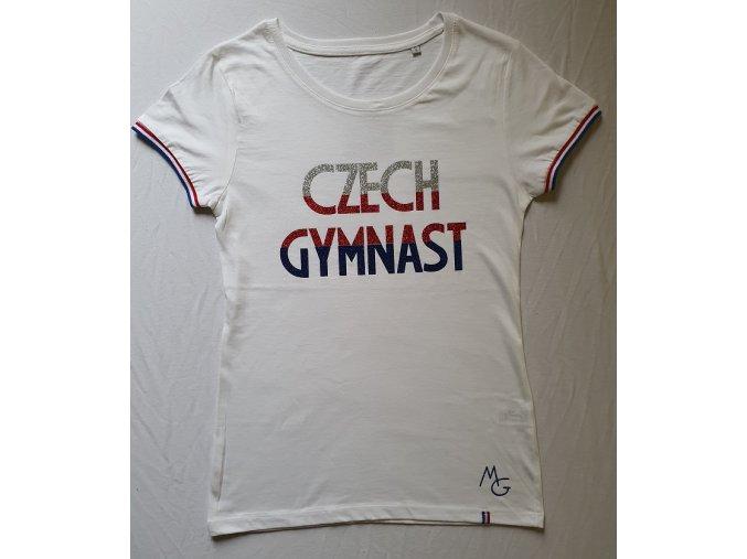 Tričko Czech Gymnast trikolora bílá