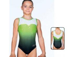 agiva 8704 aermelloser gymnastikanzug mat look printed strass f lemon kombi