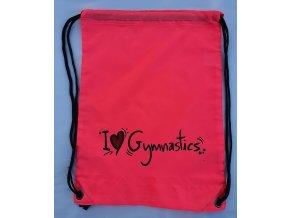 Gymsack I love gymnastics, růžová