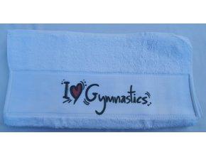 Ručník subli I love gymnastics, bílá