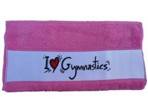 Ručník subli I love gymnastics, růžová