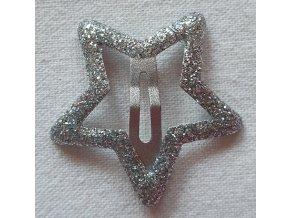 Sponky hvězdičky třpytivé stříbrná