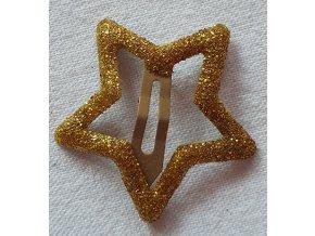 Sponky hvězdičky třpytivé zlatá