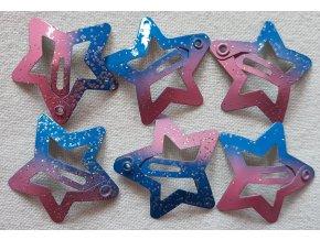 Sponky hvězdičky malé modré ombré