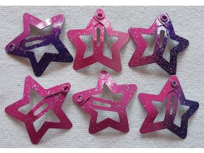 Sponky hvězdičky malé růžové ombré