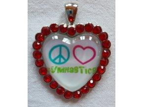 Přívěšek Heart Rhinestones red