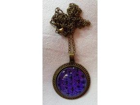 Řetízek kabošon fialová třpytivá, mini siluetky 1