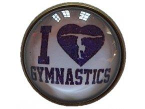 Odznáček vypouklý bílá Fialová I love gymnastics 1