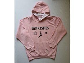 Mikina s kapucí růžová Gymnastics černá