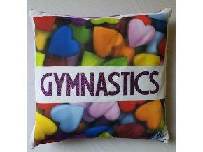 Polštářek fialová srdíčka, fialová gymnastics