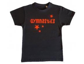 Tričko černé foil Gymnastics stars neon oranžové semiš