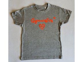 Tričko šedé foil Gymnastics hearts neon orange suede