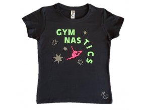 Tričko černé foil Gymnastics stars neon green, pink