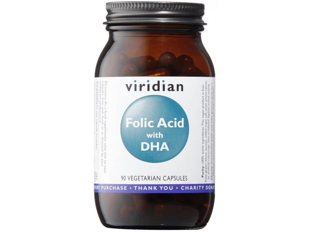 Viridian Folic Acid with DHA (Kyselina listová a DHA) 90kapslí