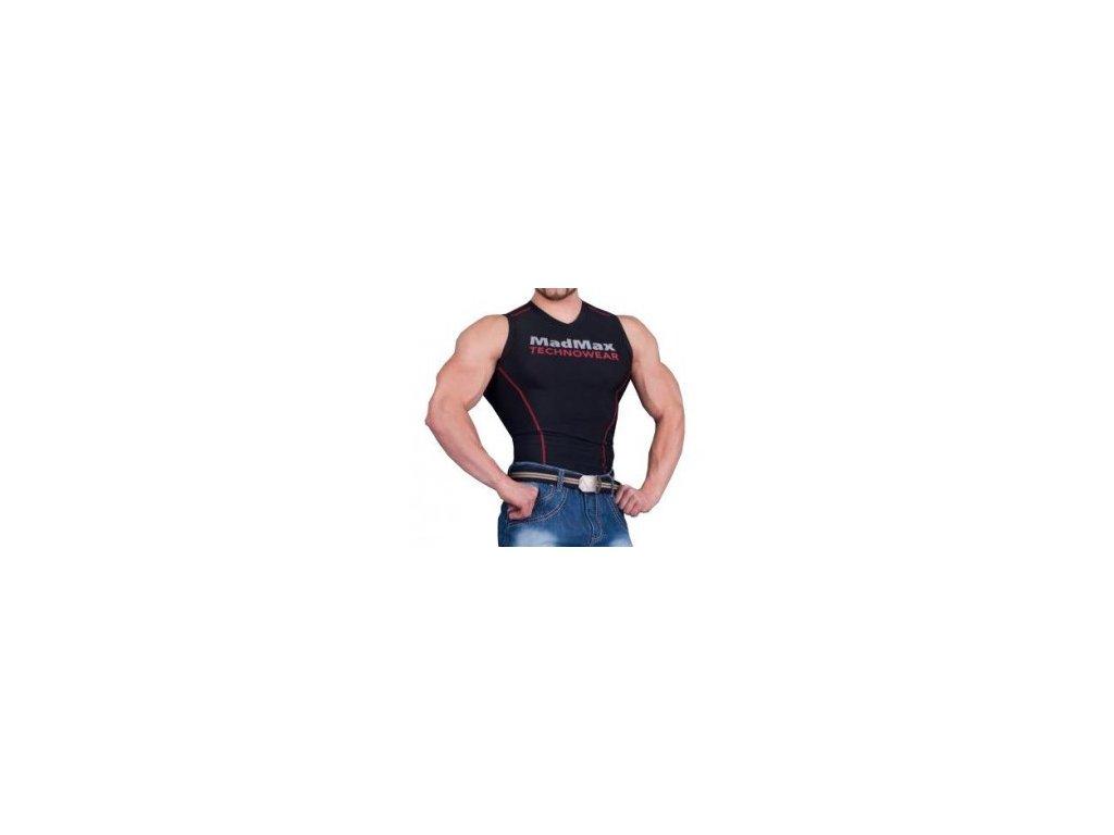 MadMax Kompresní triko bez rukávů MSW904 černočervené