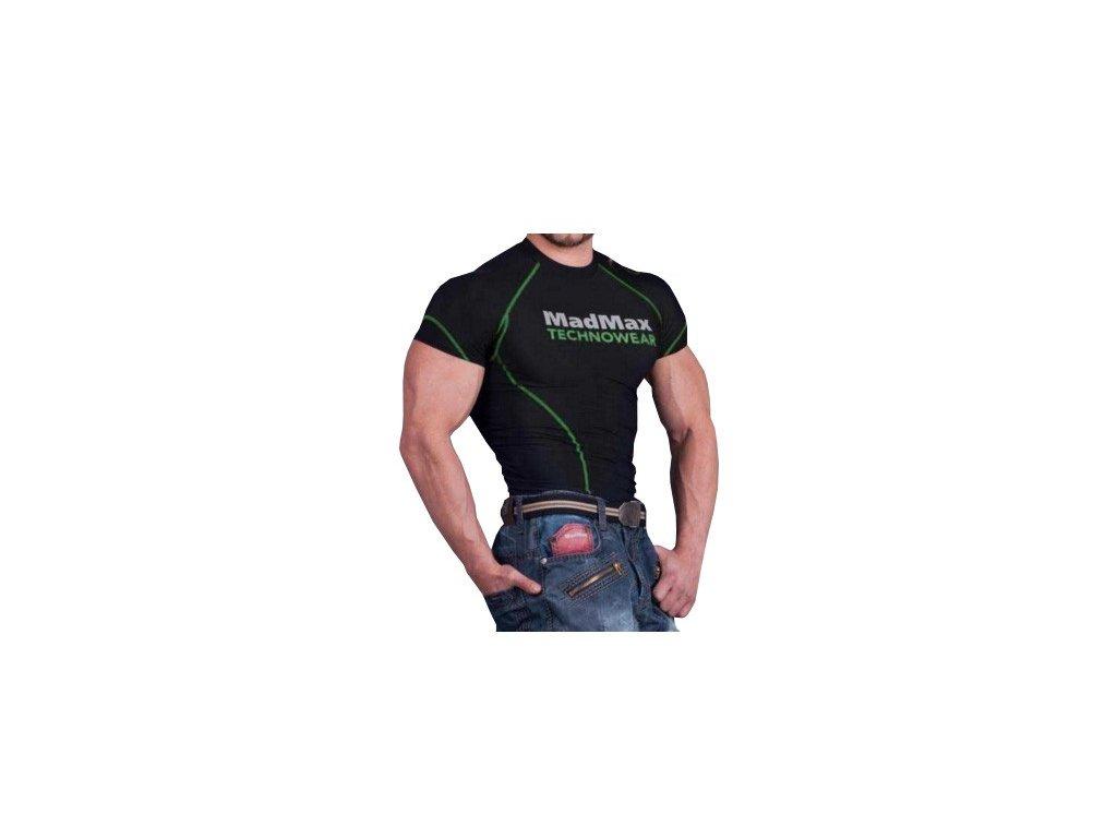MadMax Kompresní triko s krátkým rukávem MSW901 černozelené