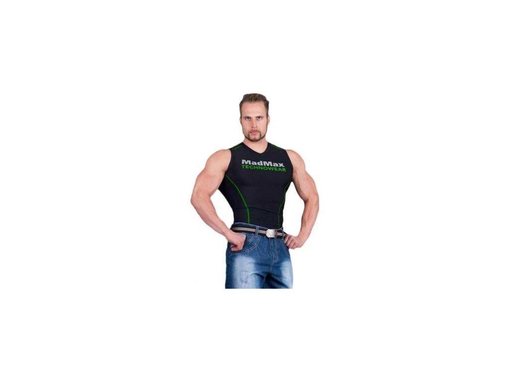MadMax Kompresní triko bez rukávů MSW904 černozelené