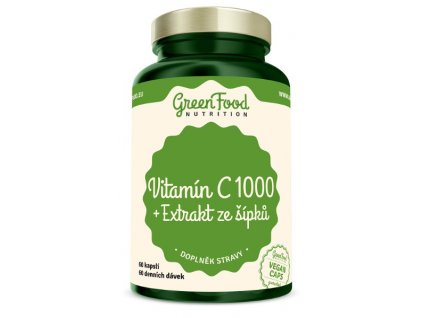 GreenFood Vitamín C 1000 + Extrakt ze šípků 60kapslí