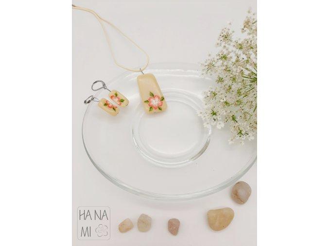 """sada """"Květ sakury"""" skleněná béžová"""