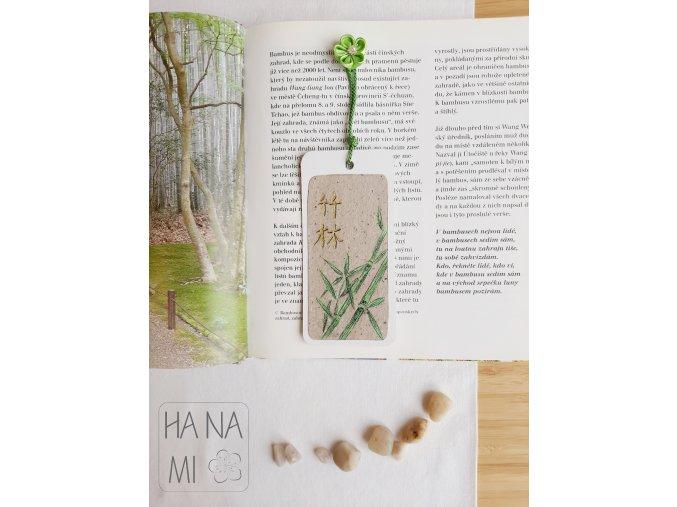 """záložka """"Bambusový háj"""" s kytičkou"""
