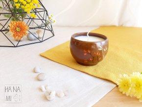 svíčka v keramickém hrnečku s šípky