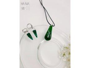 """sada """"Bambusový háj"""" skleněná zelená"""