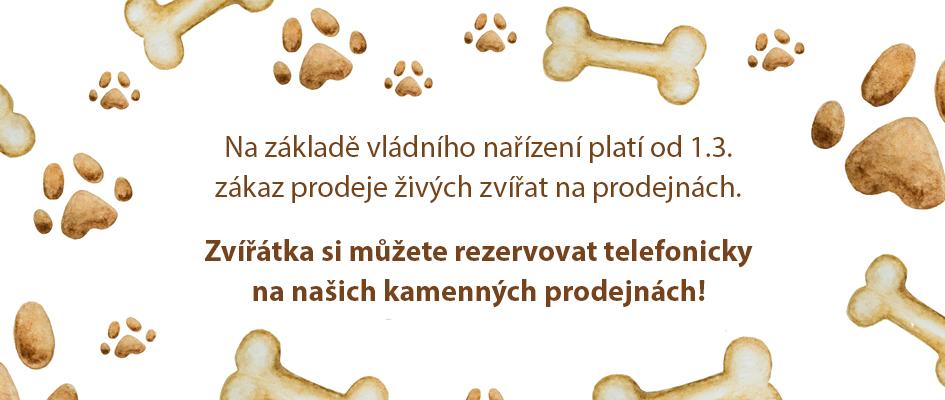 Informace ohledně prodeje zvířat na našich kamenných prodejnách!