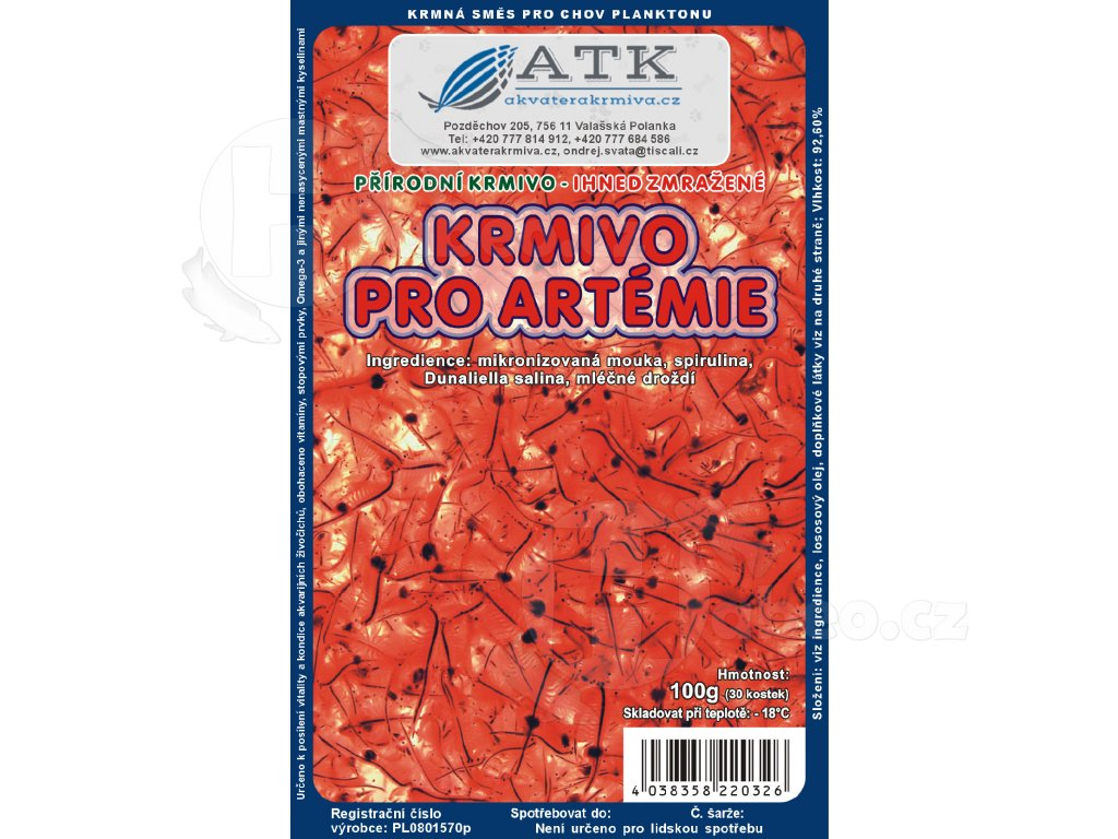 Mražené krmivo pro Artémie 100 g Artemia Food
