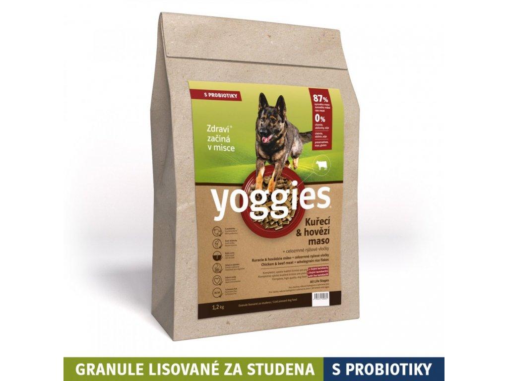 granule pro psa Yoggies 1,2 kg Kuřecí a hovězí granule lisované za studena s probiotiky
