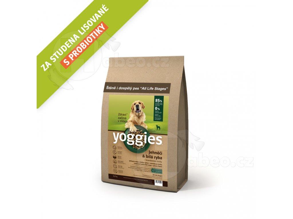 Jehněčí a bílá ryba, granule lisované za studena Yoggies 1,2 kg granule pro psa Yoggies 1,2 kg Jehněčí granule lisované za studena s probiotiky