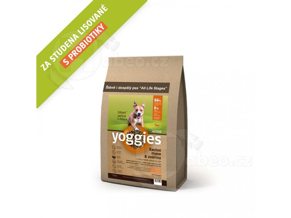 Yoggies 1,2 kg Active Kachna a zvěřina granule lisované za studena s probiotiky GRANULE PRO PSY