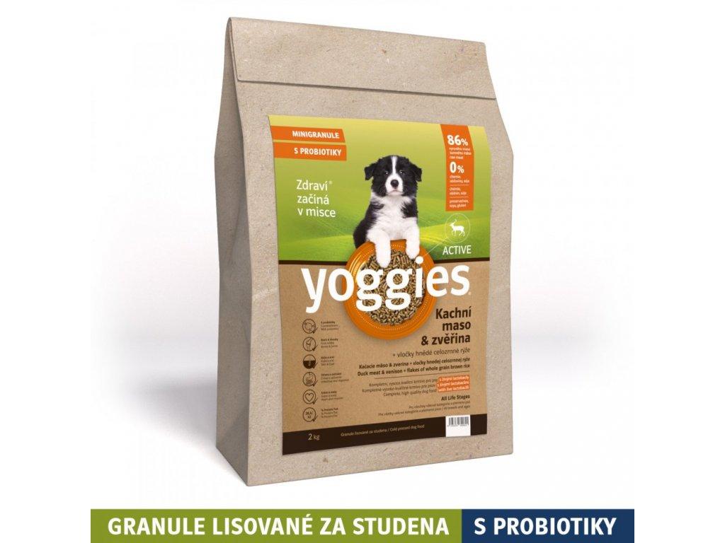 MINIGRANULE Yoggies Active, kachna a zvěřina, granule lisované za studena 1,2 kg granule pro psyYoggies 1,2kg MINI Active Kachna a zvěřina granule lisované za studena s probiotiky
