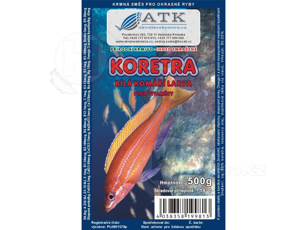 Koretra - komáří larvy bílé 500 g tafle mražené krmivo pro rybičky