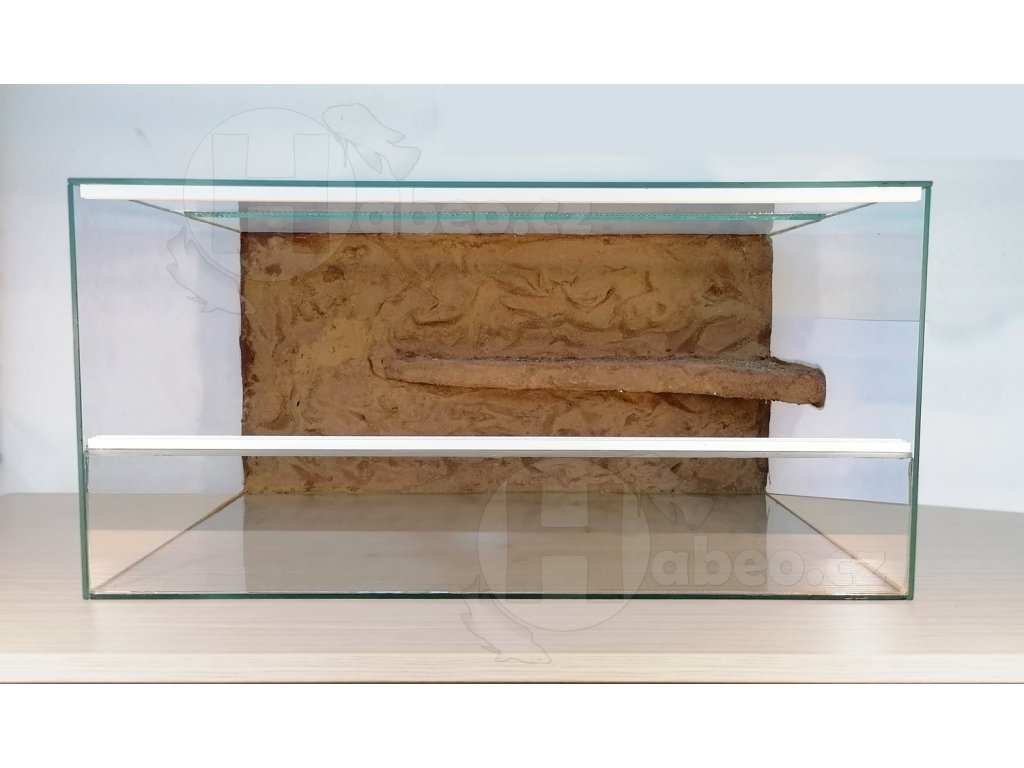 Terárium 60 x 40 x 30 cm s posuvnými dvířky, pozadí s balkónem terárko na prodej terárium s pozadím písek dvířka levně druhé patro pro hada pro agamu pro želvu Habeo.cz