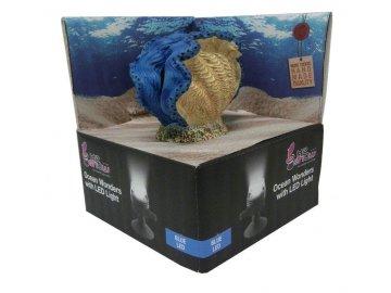 HYDOR H2shOw OceanWonders Blue Clam + LED 10 x 6 x 8 cm dekorace do akvária s LED osvětlením