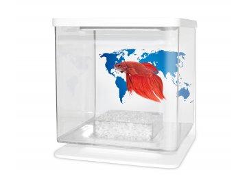 Akvárium betta 2l bílá  + Krmení Ocean Nutrition pro bojovnici pestrou
