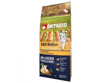 ONTARIO Dog Adult Medium Chicken & Potatoes & Herbs 12 kg granule pro psy habeo.cz