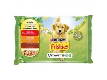 FRISKIES ADULT Dog multipack 4 x 100 g hovězí/kuře/jehněčí v želé kapsičky pro psy habeo.cz