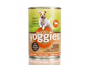 Yoggies zvěřinová konzerva pro psy s dýní a pupálkovým olejem 400g Yoggies Konzerva zverina 400g