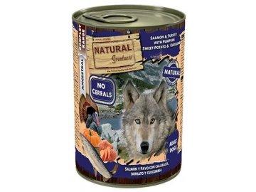 Natural Greatness losos, krůta, dýně, sl.brambor pro psy 400 g konzerva pro psa