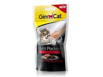 GIMCAT Nutri Pockets hovězí a malt-soft pasta 60 g habeo.cz