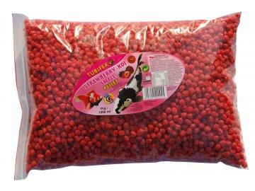 Strawberry koi pellet 1 l peletky pro koi kapry krmivo pro kapry Strawsberry Koi pellet worek