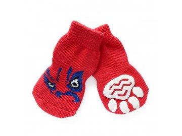 Ponožky protiskluzové pro malé psy- červené s dekorem vel. XL