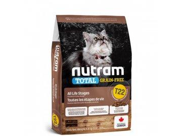 t22 nutram total grain free turkey chicken duck cat bezobilne krmivo kruta kure a kachna pro kocky a kotata